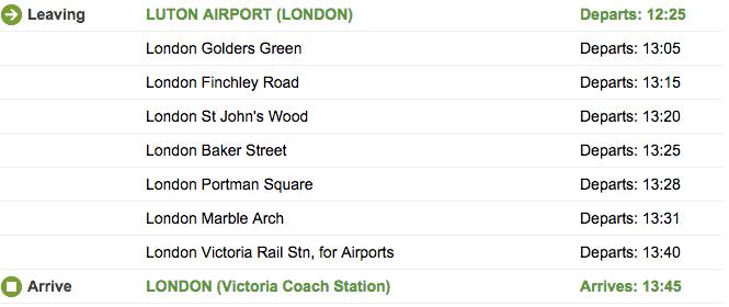 bus fra luton lufthavn til london