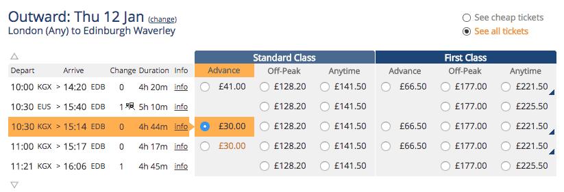 togbillet fra edinburgh til london
